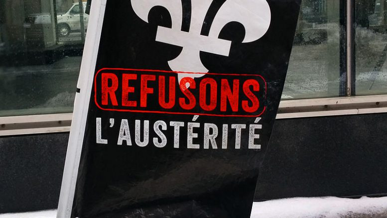 Anti-austerity movement Montreal Quebec 2016